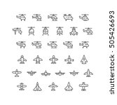 set line icons of helicopters... | Shutterstock .eps vector #505426693