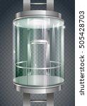 glass modern elevator... | Shutterstock .eps vector #505428703