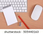 office supplies  keyboard and... | Shutterstock . vector #505440163