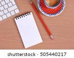 office supplies  keyboard and...   Shutterstock . vector #505440217