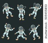 astronauts  cosmonauts  cartoon ... | Shutterstock .eps vector #505455853