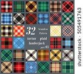 set tartan seamless pattern.... | Shutterstock .eps vector #505491763