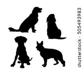 Stock vector black silhouettes of dogs on a white background set of vector illustrations 505493983