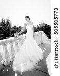 bride holding white wedding... | Shutterstock . vector #505505773
