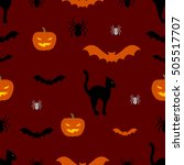 vector seamless halloween...   Shutterstock .eps vector #505517707