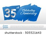 35th anniversary logo with blue ...   Shutterstock .eps vector #505521643