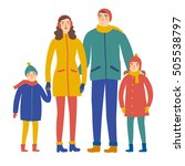 Cartoon Family In Winter...
