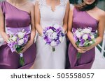 bouquet of flowers and hands of ... | Shutterstock . vector #505558057