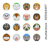 cute animals emotions icons... | Shutterstock .eps vector #505565497
