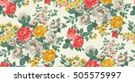 Stock vector classic wallpaper seamless vintage flower pattern background 505575997