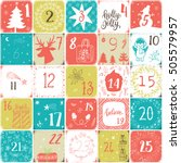 christmas advent calendar. hand ... | Shutterstock .eps vector #505579957