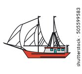 isolated sailboat ship design | Shutterstock .eps vector #505599583