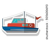 isolated fishing boat ship... | Shutterstock .eps vector #505600693