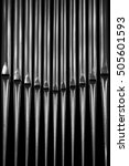 Organ Pipes Closeup In Black...