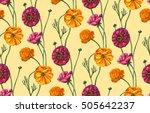 vintage design with poppy... | Shutterstock . vector #505642237