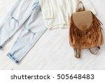 light blue ripped boyfriend...   Shutterstock . vector #505648483