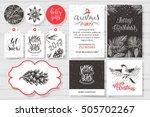 merry christmas invitation set. ... | Shutterstock .eps vector #505702267