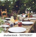 table dishware decor dinner... | Shutterstock . vector #505702837