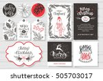 merry christmas invitation set. ... | Shutterstock .eps vector #505703017
