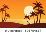 silhouette of two clum palm on... | Shutterstock .eps vector #505704697