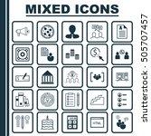 set of 25 universal editable... | Shutterstock .eps vector #505707457