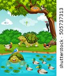 turtles and ducks at the river... | Shutterstock .eps vector #505737313