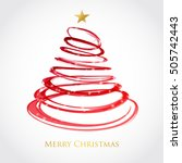 christmas tree from red spiral...   Shutterstock .eps vector #505742443