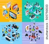 media network isometric... | Shutterstock .eps vector #505750033