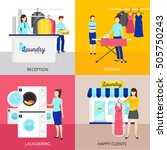 laundry concept icons set with... | Shutterstock .eps vector #505750243