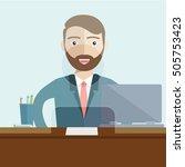 man clerk in a bank office....   Shutterstock .eps vector #505753423
