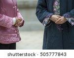two women wearing traditional... | Shutterstock . vector #505777843