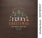 christmas greeting card. merry... | Shutterstock .eps vector #505785937