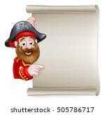 cartoon pirate peeking around... | Shutterstock .eps vector #505786717