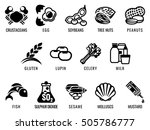 Food allergy icons including the 14 food allergies outlined by EU Food Information for Consumers Regulation EFSA European Food Safety Authority Annex II which encompass the big 8 FDA Major Allergens