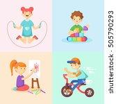 children play. girl skipping ... | Shutterstock .eps vector #505790293