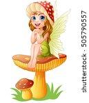 Cartoon Little Fairy Sitting O...