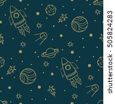 seamless space pattern. planets ... | Shutterstock .eps vector #505824283