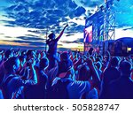 young people crowd on a music... | Shutterstock . vector #505828747