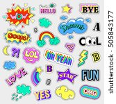 pop art set with fashion patch... | Shutterstock .eps vector #505843177