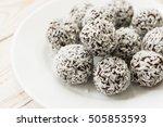 dark chocolate coconut brownie... | Shutterstock . vector #505853593