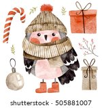 little cute bullfinch with... | Shutterstock . vector #505881007