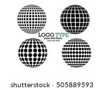 set of abstract striped spheres.... | Shutterstock .eps vector #505889593