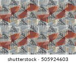 striped triangles on gray with... | Shutterstock .eps vector #505924603