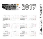 Calendar 2017 On Spanish...