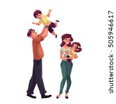 father  mother  daughter and... | Shutterstock .eps vector #505946617