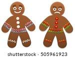 gingerbread man   one is happy  ... | Shutterstock .eps vector #505961923