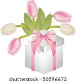 gift with tulips | Shutterstock .eps vector #50596672