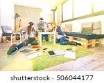 young people employee workers... | Shutterstock . vector #506044177