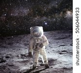 astronaut on the moon with... | Shutterstock . vector #506044933