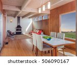 wooden interior with view... | Shutterstock . vector #506090167